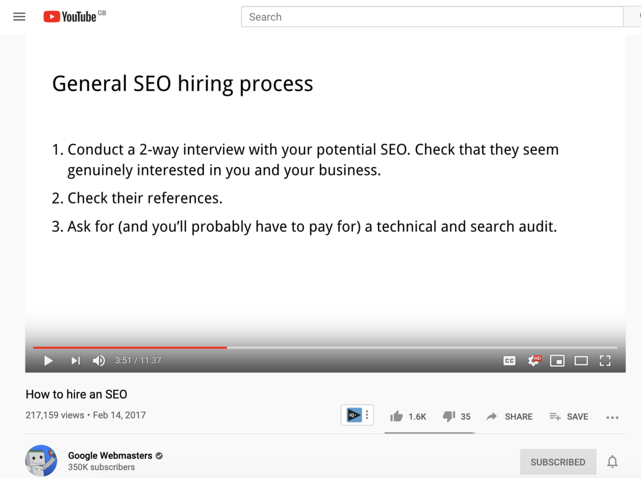 Screenshot of How to hire an SEO Youtube video